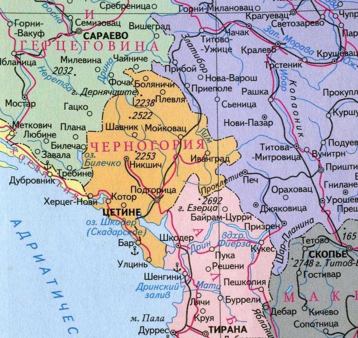 karta chernogorii - Местоположение и карта Черногории