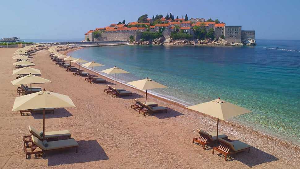 Sveti Stefan plaza - Пляж Светой Стефана в Черногории